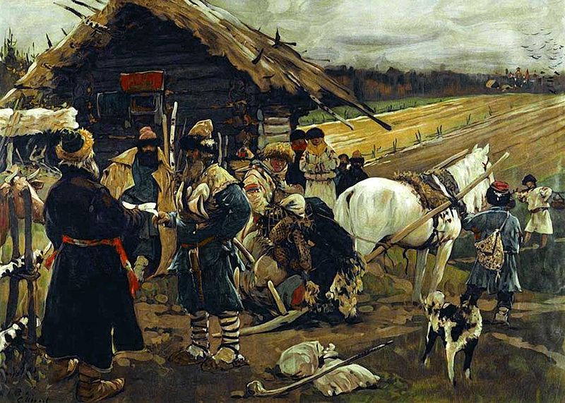 A Russian feudal surf leaving his landlord on Yuri's Day. (Source Wikimedia Commons)